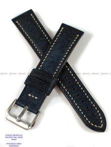 Pasek skórzany ręcznie robiony A. Kucharski Leather - Badalassi Carlo Pueblo RawEdge - navy/camel 18 mm
