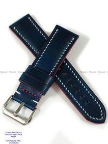 Pasek skórzany ręcznie robiony A. Kucharski Leather - Conceria Walpier Buttero - blue/white 32 mm