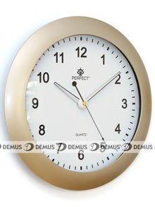 Zegar ścienny plastikowy jasnozłota obudowa biała tarcza PW1