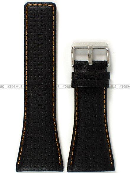 Pasek skórzany do zegarka Bisset BSCC63 - ABP/C63-Black-Orange - 34 mm
