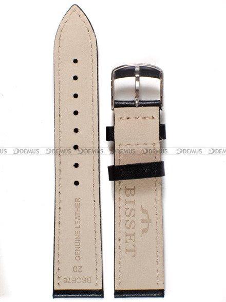 Pasek skórzany do zegarka Bisset BSCE75 - ABP/E75-Black-White - 20 mm