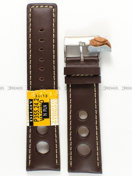 Pasek skórzany do zegarka - Diloy P355.24.2 - 24 mm