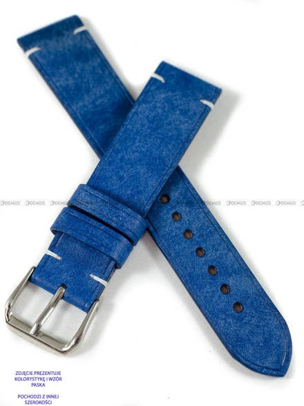 Pasek skórzany ręcznie robiony A. Kucharski Leather - Conceria Il Ponte Maya Simple - blue/white 28 mm