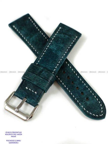 Pasek skórzany ręcznie robiony A. Kucharski Leather - Conceria Il Ponte Maya - turquoise/white 20 mm
