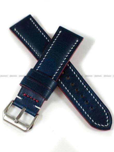 Pasek skórzany ręcznie robiony A. Kucharski Leather - Conceria Walpier Buttero - blue/white 22 mm