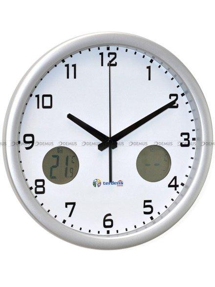 Zegar ścienny 1164-ANALOG-SR plastikowy z termometrem