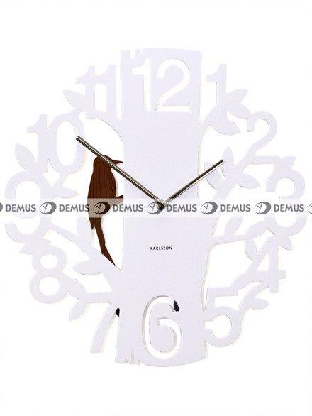 Zegar ścienny KARLSSON KA5393WH z tworzywa Woodpecker biały
