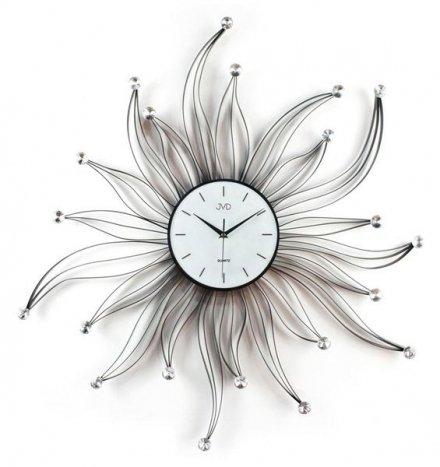 Zegar ścienny metalowy z elementami dekoracyjnymi i kryształowymi kuleczkami HJ05