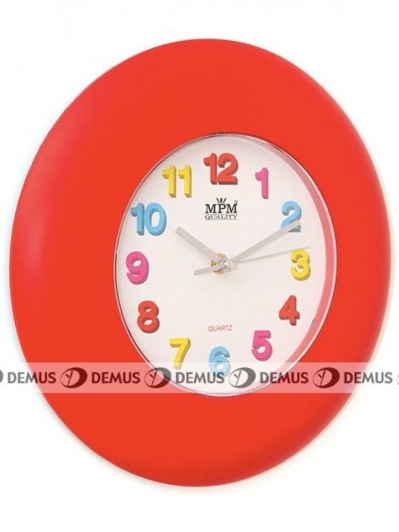 Zegar ścienny plastikowy czerwona obudowa kolorowe cyfry E01.2809.20