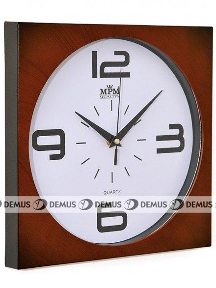 Zegar ścienny plastikowy kwadratowy jasnobrązowa obudowa biała tarcza czarne duże cyfry E01.2799.52
