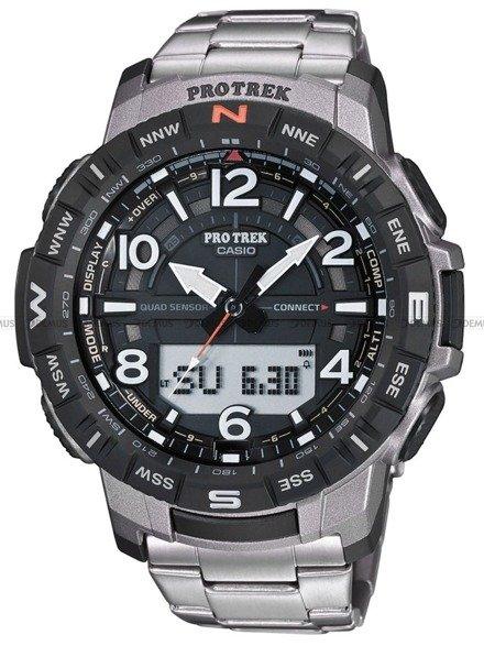 Zegarek Męski PROTREK Bluetooth PRT B50T 7ER - Tytanowa bransoleta