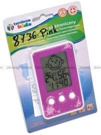 Termometr Higrometr Zegar dla dzieci Terdens 8736-Pink