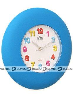 Zegar ścienny plastikowy niebieska obudowa kolorowe cyfry E01.2809.30 niebieski